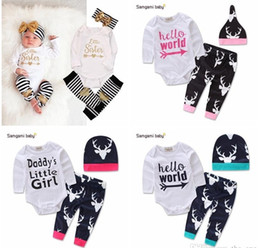 Wholesale Hello Girl Hat - Christmas Romper Letters long sleeve + pant with hat Baby Girls clothing Wholesale Hello world Reindeer 2017 Autumn Free DHL shipping