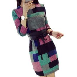 Wholesale Women S Wool Mini Skirts - 2016 autumn and winter women's long-sleeved plaid wool skirt skirt self-cultivation sweater skirt