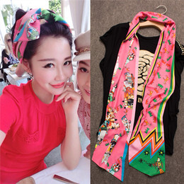 Wholesale Long Scarves For Summer - Twilly Wraps Luxury Mulberry Silk Scarf Long Summer Style Ladie Silk Scraf 5 Colors Bow Tie Headband for Women F408