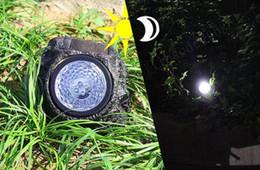 Wholesale Solar Stone Lights - 2017 NEW Outdoor Garden 4-LED Solar Decorative Rock Stone Spot Lights Lamp Yard free shipping MYY