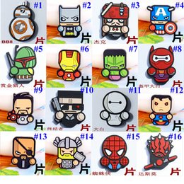 Wholesale Hulk Toys Wholesale - The Avengers Series PVC Toy Cartoon DIY Patch Toy Cartoon Decorations Paster Accessories The Hulk BatMan Captain America Baymax Q Doll