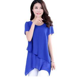Wholesale New Korean Women Fashion Blouse - New Summer Women Blouses Korean Fashion Short Sleeve Vintage Chiffon Blouse Plus Size Women Clothing Ladies Tops Blusa Feminina