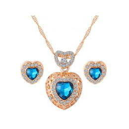 Wholesale Light Blue Stone Jewelry - 18K Gold Plated Clear Crystal Emerald Sapphire Stone Heart Stud Earrings Chain Necklace Fashion Wedding Jewelry Sets