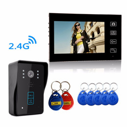 "Wholesale Video Intercom Keypad Systems - Super waterproof HD Wireless 2.4G 7"" Video Door Phone Intercom System 1 RFID Keypad Code Number Doorbell One Camera One Monitor"