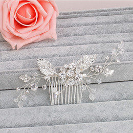 Wholesale Hair Pins Fashion Jewelry - beijia Fashion Flower Leaf Bridal Hair Comb Pin Rhinestone Crystal Wedding Hair Combs Accessories Silver Jewelry