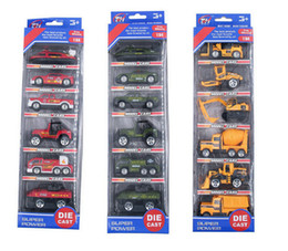 Wholesale Diecast Toy 64 - Cool 6pcs 1:64 Metal Diecast Cars Firefighting Trucks Police Ambulance Fire Military Trucks Car City Vehicle Toy Boys Gifts