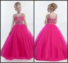 Wholesale Pageant Gowns For Sell - Sweet Gilrs Dresses Cheap Pageant Kids Prom Dress Crystals V-Neckline Zipper Tulle Pageant Gowns For Teens Best Quality Good Sell