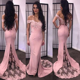 Wholesale Wholesale Mermaid Lace Wedding Dresses - 2016 Luxury Mermaid Bridesmaid Dresses Sweetheart Off The Shoulder Appliques Satin Custom Made Backless Wedding Guest Dresses Sweep Train