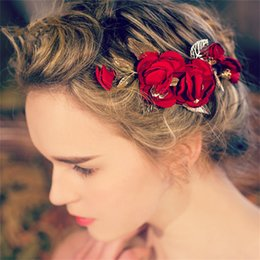 Wholesale Gold Flower Hair Comb - Vintage Wedding Bridal Red Rose Flower Headpiece Hair Accessories Clip Princess Crown Tiara Headband Comb Gold Leaf Jewelry Wholesale Pins