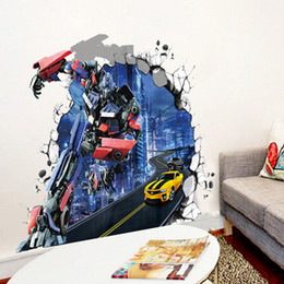 Wholesale Protection Transformer - Transformers 3 D Wall Stickers Creative Sitting Room Children Room Environmental Protection Can Remove Waterproof Wall Stickers
