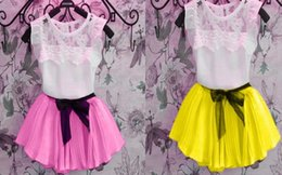Wholesale Solid Colorful Shirt - Hot Fashion children girl Pleated Skirts + Tops Tees kids 2 piece Clothing Sets party outfit suit T shirt short dress 2Y-7Y colorful gift