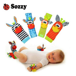 Wholesale Plush Rattle - Sozzy hot Baby toy socks Baby Toys Gift Plush Garden Bug Wrist Rattle 3 Styles Educational Toys cute bright color