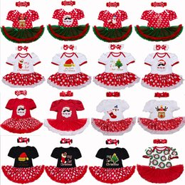 Wholesale Boys Size Dress Suit - 23 Styles Baby Christmas Rompers Infant Baby Xmas 2pcs set suits Newborn anna rompers Hair band short Sleeve cake dress