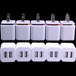 Wholesale Usb Wall Adapter Free Shipping - 5V 2.1A&1.0A Double USB AC adapter home travel wall charger with dual ports EU US plug 5 colors cell phone chargers DHL Free Shipping