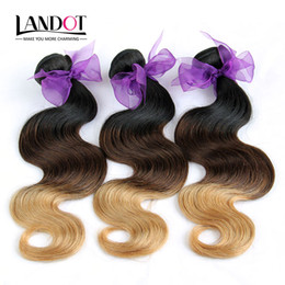 Wholesale Eurasian Human Hair Weave - 3Pcs Lot 8-30Inch Two Tone Ombre Eurasian Human Hair Extensions Body Wave Color 1B 27# Blonde Ombre Eurasian Virgin Remy Hair Weave Bundles
