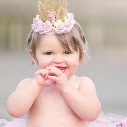 Wholesale mini crown headband - Newborn Mini Lace Crown With Lace Flowers Headbands For Kids 1st Birthday Party DIY Hair Accessories