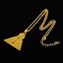 Wholesale Pyramid Jewelry - My Shape Pendant Jewelry Series Stylish Golden Plating Enameled Ankh Cross Pyramid Pendant Necklace Egyptian Necklace Jewelry
