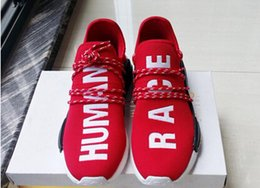 Wholesale Family Fabrics - Human Race Friends and Family size 36-45 Wine Red Pharrell Williams X NMD Top Originals BOOST Mens Running Shoes for men sports sneakers