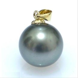Wholesale Solid 14k Yellow Gold - HOT ROND AAAA+ 15-16mm BLACK South Sea Shell Pearl PENDANT 14K SOLID GOLD MARKED