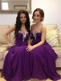 Wholesale Red Sparkle Bridesmaid Dresses - Long Purple Bridesmaid Dresses With Sparkle Rhinestone A Line Chiffon Sexy Sweetheart Backless Custom Cheap Wedding Party Dress