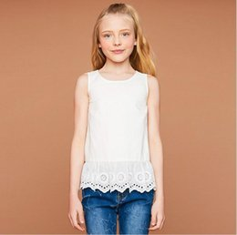 Wholesale Teenagers Casual Shirts - Junior Lace T-shirts Teenager Fashion Hallow Out Tees Big Baby Girls Summer Casual Jumper tops Baby Clothing 2017 kids clothes