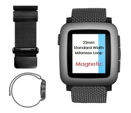 Wholesale Silver Pebble - 22mm Magnetic Milanese Loop Metal Band For Huami Amazfit Watch Asus Zenwatch 2 Pebble Time Steel Gear 2 LG G Watch Moto 360