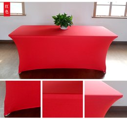 Wholesale spandex table covering - Many Color Rectangle Bar Table Covers Spandex Lycra Cocktail Table Covers Hotel Party Wedding Decoration Stretch TableCloth
