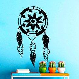 Wholesale Lotus Classic - Vinyl Wall Art Stickers Indian Amulet Lotus Design Feathers Dorm Decal Mural Bedroom Wall Decor