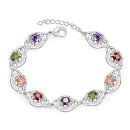 Wholesale 925 Silver Bracelets Stones - Hot sale christmas gift 925 silver Color stone bracelets DFMCH427,new fashion 925 sterling silver Chain link gemstone bracelets high grade