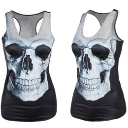 Wholesale Horror Shirts - Wholesale-EAST KNITTING V42 Summer New 2016 Women T shirt SKULL BLACK Vest Tops Sexy Polyester Horror Sexy Tank top