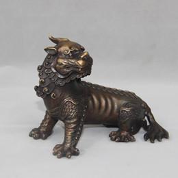 Chinesische löwenhunde statuen online-Chinese Bronze Bösen Geist Foo Dog Lion Unicorn Beast PiXiu Statue home decoration