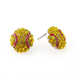 Wholesale Yellow Fashion Earrings - New Crystal Basketball Rugby Baseball Softball Volleyball Studs Fashion Women Ball Earrings Yellow Orange Black Red Stud Earring