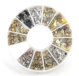 estilos de unhas de acrílico Desconto Atacado- Gold Silver Black 12 Estilos Diferentes Acrílico Nail Art Stickers Tips Glitter Moda Prego Ferramentas DIY Decoração Stamping ZP075