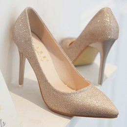 Wholesale Silver Bridesmaid Flat Shoes - 2017 Sweet Sequins Lady's Formal Shoes Women's High Heels Elegant Bridal Evening Prom Party Wedding Dress Bridesmaid Shoes