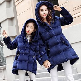 Wholesale Girls Jacket Pink Winter Padded - Mother Daughter Winter Coat Mom Girls Bow Warm Hooded Coats 2017 Women Jacket Kids Girls Cotton Padded Coat Family Match Outfits Clothes D18