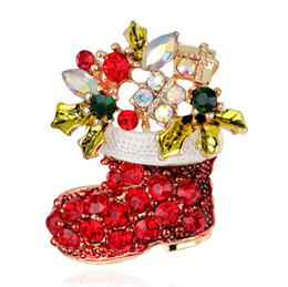 Wholesale Cheap Scarves China - Gold Plated Enamel Christmas Shoes Brooch For Party Cheap Red Rhinestone Christmas Brooches Clip For Scarf Buckle Christmas Gift