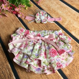 Wholesale Panties Off - 15% off! Baby Girl Ruffle cotton Bloomers headbands sets Princess Panties Diaper Cover Shorts Briefs Bottom PP Pants Skirt 5 sets  32 style
