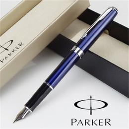 Wholesale Blue Pen Parker - Wholesale-1pcs lot Parker Sonnet Fountain Pen Blue Pens Silver Clip Parker Ink Pen Vintage Caneta Tinteiro School Supplies 13.3*1.3cm