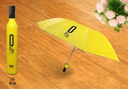 Wholesale Wholesale Folding Umbrella Silver - Free Shipping hot sale Portable Creative Fashion Three Folding Wine Bottle Sun rain Umbrella Gift WA0685