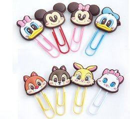 Wholesale Wholesale Paper Clips - Cute Cartoon Book Mark Paper Clip Multi Fuction ABS Handmake Craft Character Clips Files Paper Book Mark Bookmark