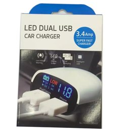 Wholesale Retail Display Package - Universal Double 2 USB Ports Car Charger Adapter LED display 3.4A For iPhone 6S 6 Plus Samsung ipad with Retail package