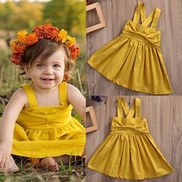 Wholesale Nice Kids Dresses - Wholesale- Nice Toddler Infant Kids Baby Girls Dresses Bow Cute Sleeveless Princess Party Girl Tutu Dress New Summer
