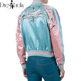Wholesale Jacket Winged Sleeves - Wholesale- Cool satin eagle wings embroidery bomber jacket women basic coats sukajan jackets winter 2016 casual souvenir jacket new outwear