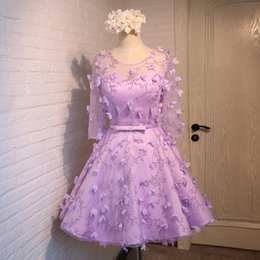 Wholesale Vestidos Sweet 16 Shorts - 2016 New Champagne Sweet Lace Flower Bridesmaid Dresses Short Half Sleeves A-line Party dresses Fahsion Homecoming Dresses Vestidos