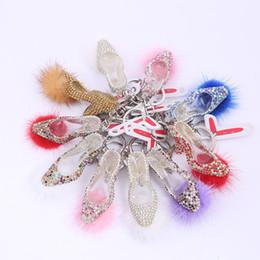 Wholesale Metal Charms Pendants Heels - Bling Rhinestone High heeled Shoes with Fluffy Balls Metal Keychain Keyring Car Keychains Purse Charms Handbag Pendant Wedding Gift