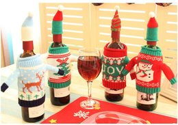 Wholesale Cloth Wine Bottle Covers - Christmas Wine Bottle Bag Dinner Party Decoration Creative knit wine bag Bottle Cover Bag Christmas decoration