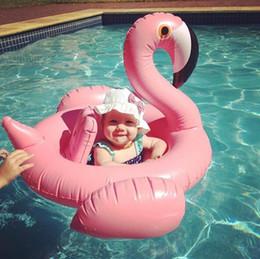Wholesale Seat Boy - Flamingo baby seat ring swim ring BOY GIRLS swimming pool toy party kids toy