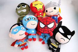 Wholesale Dolls Batman - Free Shipping 2016 Plush toys The Avengers Iron Man Hulk Thor Spiderman Batman Superman Captain America plush doll 18cm