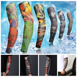 Wholesale Temporary Tattoos Men Sleeves - Multi style 100% polyester elastic Fake temporary tattoo sleeve designs body Arm stockings tattoo for cool men women 200 PCS YYA855