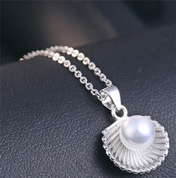 Wholesale Real White Pearl Necklace - real s925 silver pendants woman ladies jewellery dangles diy necklaces chains shell pearl single white fashion wholesales friends gifts 1pc